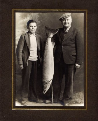 Grant Mortimers Father and Brother with a  32 and a half pound fish taken at Inverallan